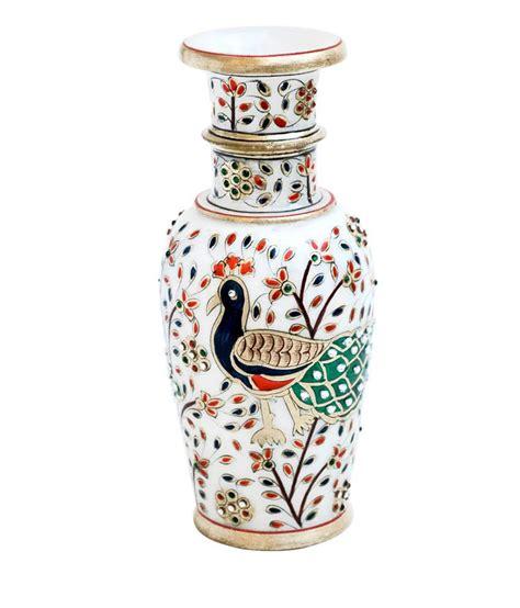 Peacock Flower Vase by Handicrafts Paradise Peacock Motif Marble Flower Vase Buy