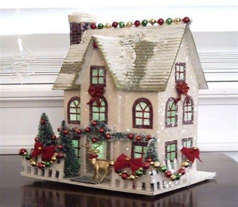 vintage style putz christmas village house glitter trees