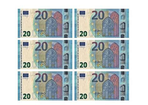 Printable Play Euros 20 banknote template free printable papercraft