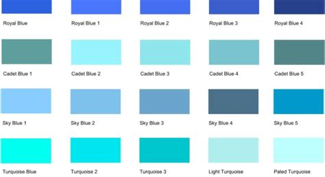 different shades of different shades of blue a list with color names and codes drawing