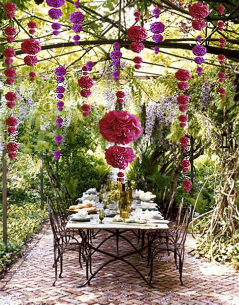 garden wedding decoration diy diy garden wedding decorations colourful cascading pom poms 187 wedbits