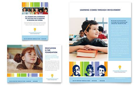 learning center elementary school flyer ad template design