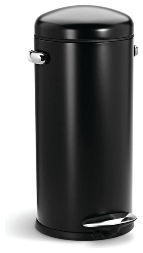 30 litre retro step can black steel modern trash cans