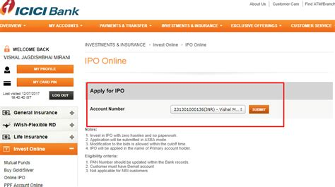 asba bank how to apply ipo through asba icici net banking