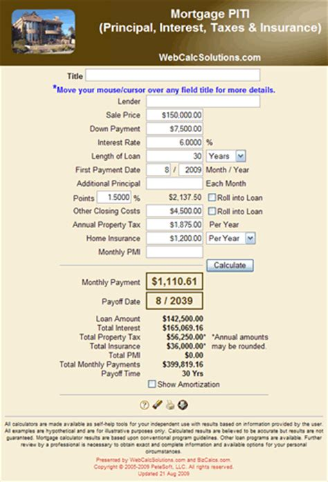 house mortgage calculator with taxes and insurance mortgage calculator taxes insurance