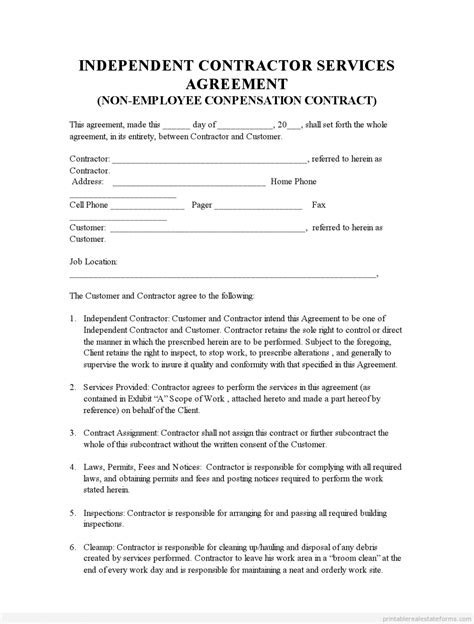 contractor contract template independent agreement form