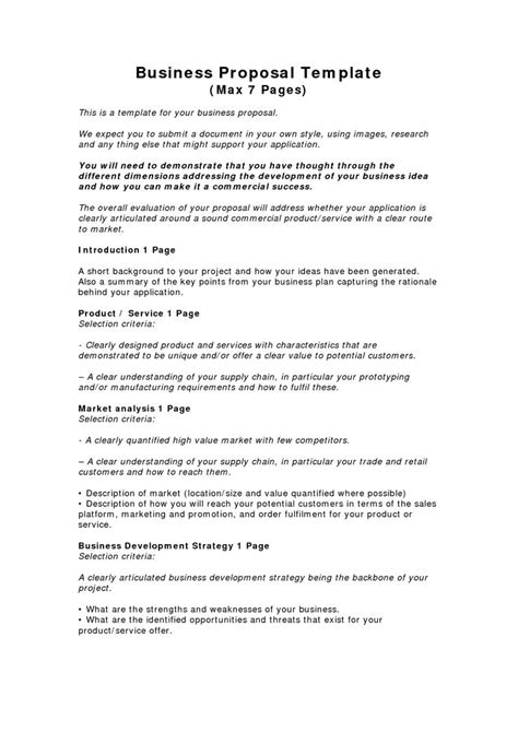 business proposal template free business template