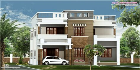 flat home design 2600 sq feet flat roof villa elevation house design plans