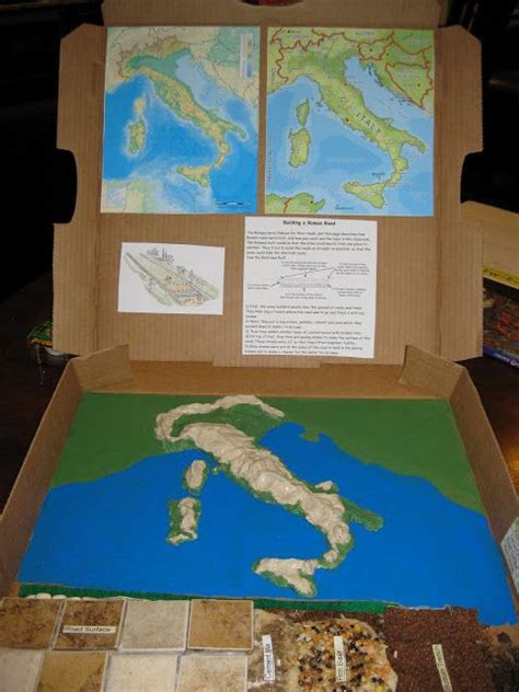 3d class geography pizza box geography project middle history pizza roman roads and map