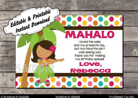 free printable luau thank you cards luau thank you card birthday party editable printable