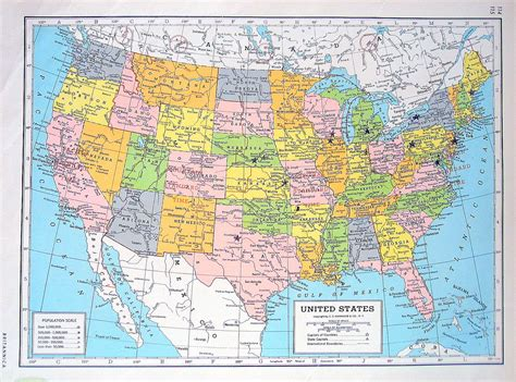 atlas map of the united states united states map central america map 1947 large 2 sided book