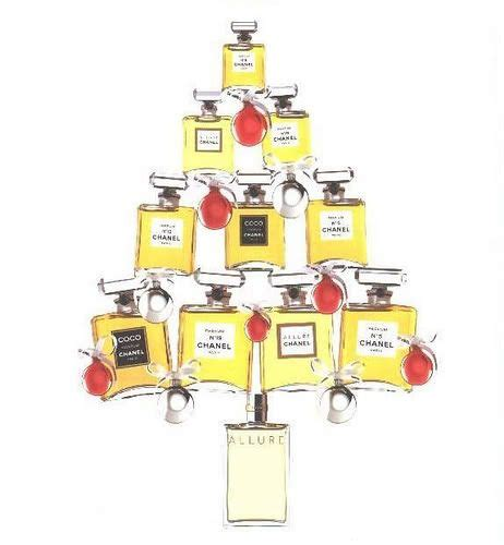 chanel bottles in the shape of a christmas tree styling