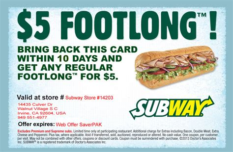 printable subway coupons illinois student discount coupon code car insurance quote online