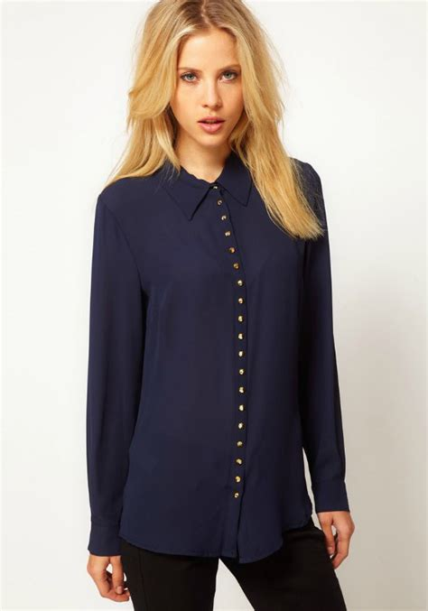 Sleeve Navy Blue Blouse by Navy Blue Chiffon Blouse Clothing