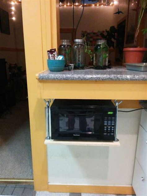 hanging microwave shelf 5 steps with pictures