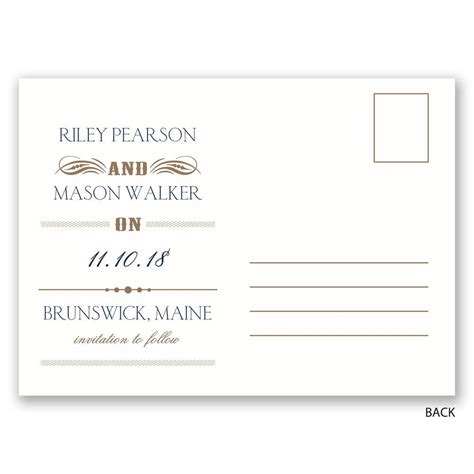 Save The Date Card Template Font And Back by Details Save The Date Postcard Invitations By
