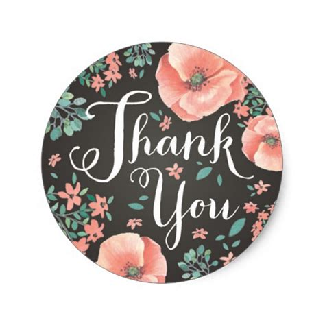 thank you sticker template coral pink thank you sticker zazzle