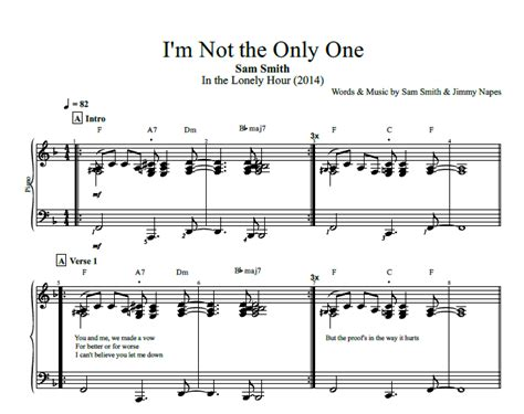 how to play i m not the only one on guitar by sam smith quot i m not the only one quot by sam smith piano sheet music