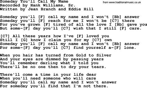 my lyrics williams hank williams song someday you ll call my name lyrics