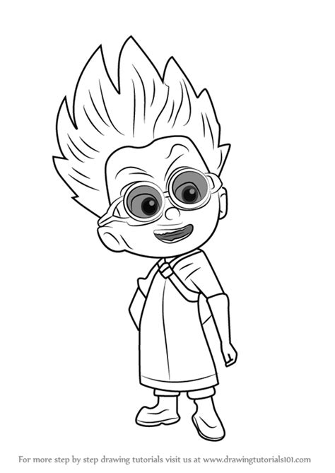 pj masks romeo coloring page step by step how to draw romeo from pj masks
