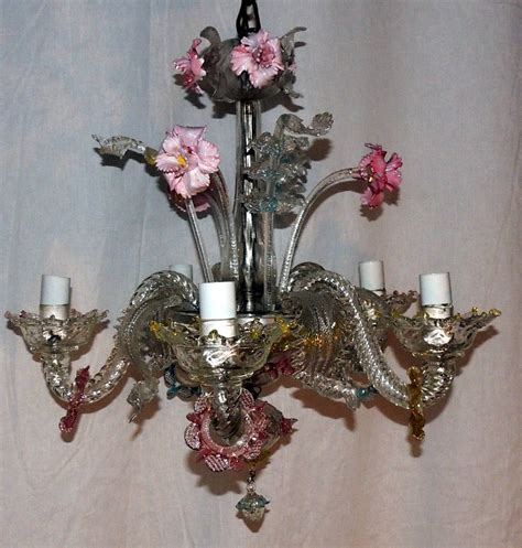 Whimsical Chandeliers Whimsical Murano Vintage Venetian Blown Glass Five Light Carnations Chandelier At 1stdibs