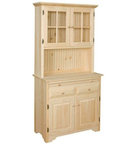 amish unfinished solid pine hutch china cabinet