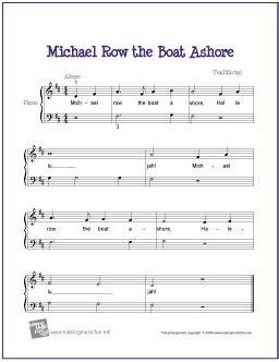 michael row the boat piano michael row the boat ashore free easy piano sheet music
