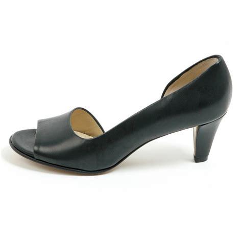 kaiser jamala iconic navy leather open toe shoes