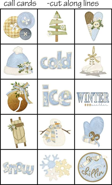 Winter Bingo Card Template by Printable Bingo Calling Cards Images