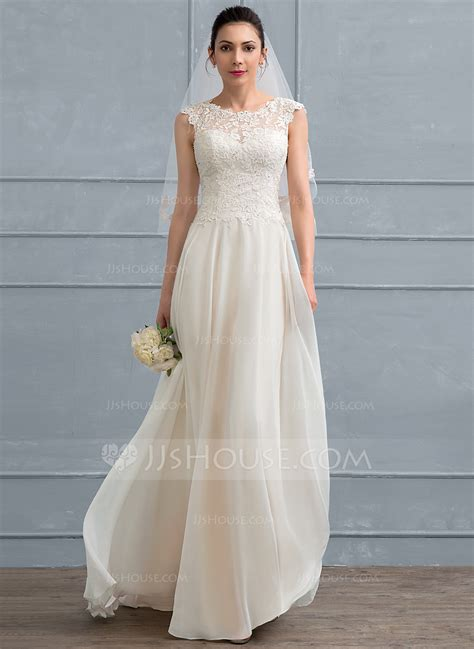 Floor Length Wedding Dress by A Line Princess Scoop Neck Floor Length Chiffon Lace