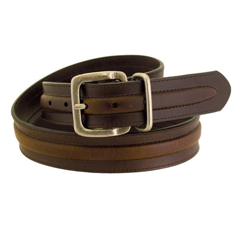 wrangler rugged wear s padded leather belt brown