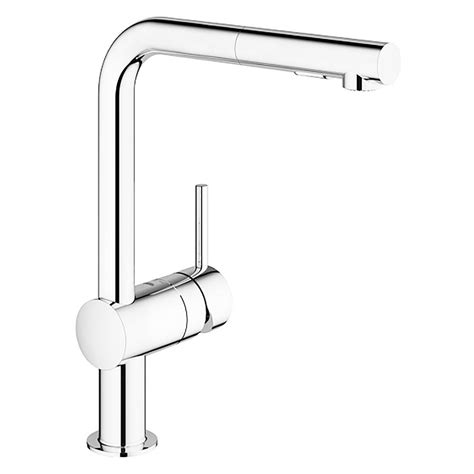 grohe pull out kitchen faucet grohe minta single handle pull out sprayer kitchen faucet in starlight chrome 30300000 the