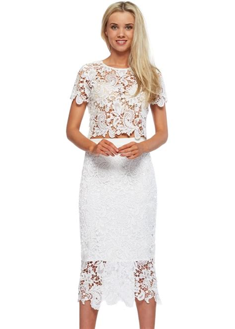 Set Lace Top abyss bunny lace set white lace pencil skirt top