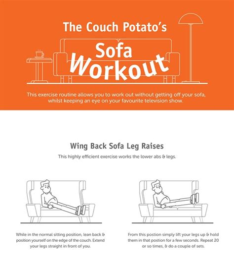 couch exercises infographic a set of sofa exercises for couch potatoes