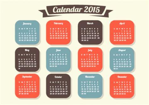 Calendario Retro Retro Vector 2015 Calendar Vector Free