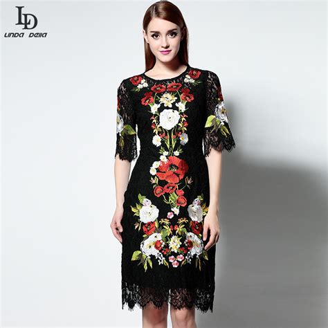 Black Lace Dress 219913 new fashion black lace dress runway designer knee length vintage bodycon slim sheath