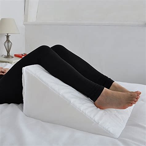 wedge cushion pillow bed support back pain relief lumbar foam bed wedge with quilted cover multi purpose cushion