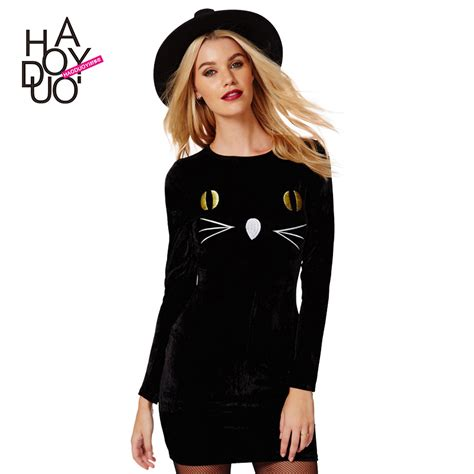 Dress Oline Cat playful cat embroidered dress one step dress fashion bodycon dress for wholesale