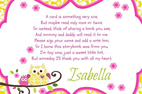 Gift Card Message Ideas - baby shower insert card baby shower idea attach a book to the gift instead of a