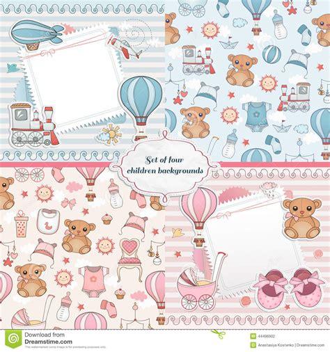 sentence pattern blueprint cards set of baby cards newborn card design stock vector