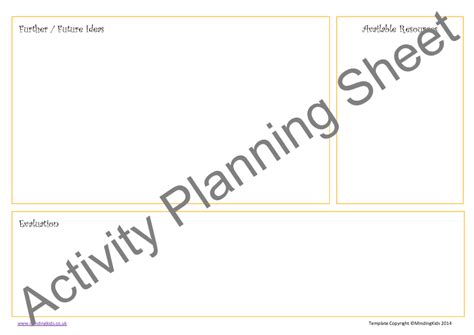 Activity Planning Pack Mindingkids Activity Planning Sheet Template