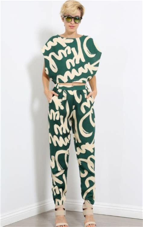 Set Toppants N0489 blouse jumpsuit crop tops set crop top trouser