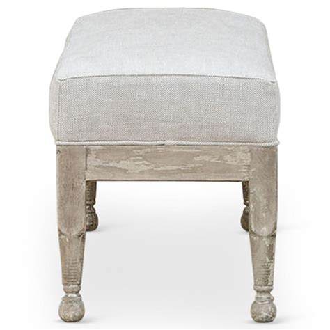 white bench ottoman normandy coastal solid carved wood white wash grey bench