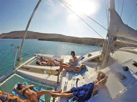 sv delos new boat catamaran yacht cruise from mykonos to delos rhenia