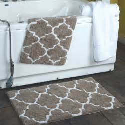 Quatrefoil Shower Curtain 2 Piece Moroccan Trellis 100 Percent Cotton Bath Rug Set