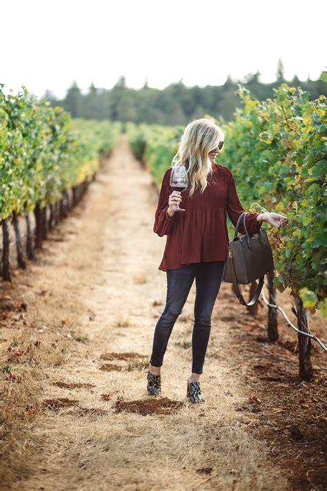 rust pleated blouse napa outfit idea  winery tastings