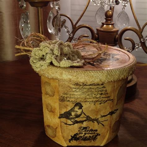 Decoupage On Plastic Containers - recycled plastic container used in decoupage project