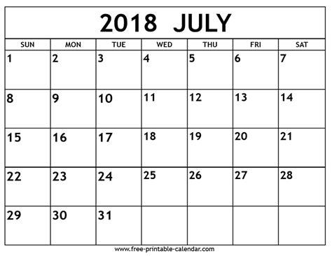 calendar template july 2018 july 2018 calendar free printable calendar