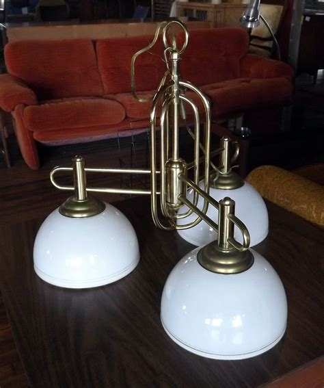 Glass Shades For Light Fixtures 3 Light Brass Fixture W Glass Shades Salvage One
