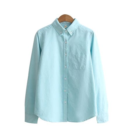 Blouse Murah High Quality high quality autumn sleeve work shirt office tops cotton oxford blouse in